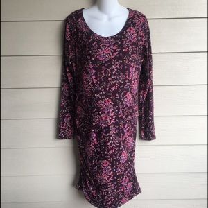 NWT Gap Maternity Dress Purple Floral Fitted Med